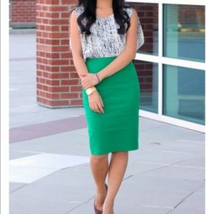 J Crew Green pencil skirt in double-serge cotton